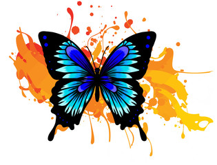 Fotorolgordijn Vlinders in Grunge Decorative watercolor grunge butterfly for your design. Vector illustration, hand drawn colorful butterfly with stains and drops of paint.