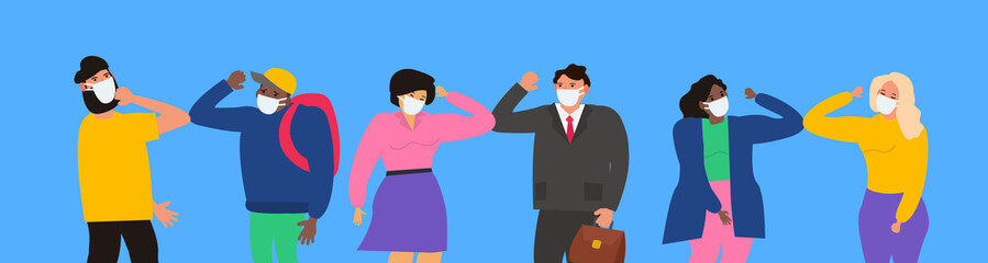 people in protective masks greeting with elbows no handshake coronavirus covid 19 prevention vector illustration