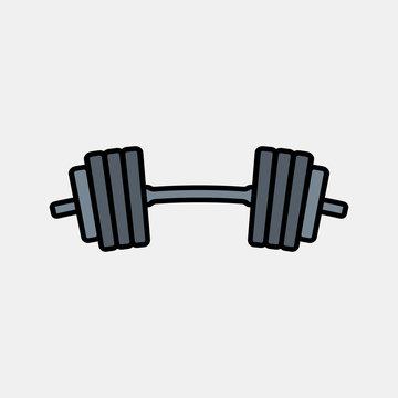 Barbell icon logo design. weight training equipment symbol.