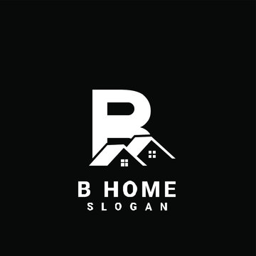 B initial house logo icon design vector