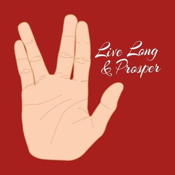 Hand gesture live long and prosper. Vector illustration