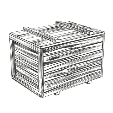 crates, closed wooden box, parcel hand drawn vector illustration realistic sketch