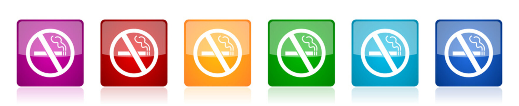 No smoking icon set, colorful square glossy vector illustrations in 6 options for web design and mobile applications