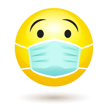 Smile emoji wearing a protective surgical mask. Icon for coronavirus outbreak. Infected patient wears medical face mask to prevent spread of illness. Vector Illustration.
