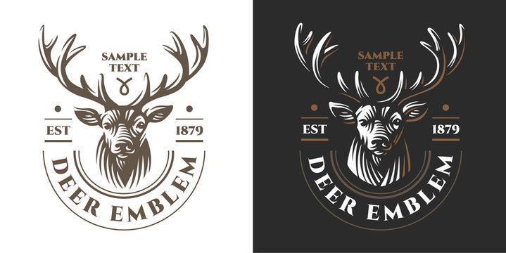 Deer head Design Element in Vintage Style for Logotype, Label, Badge, T-shirts and other design. Retro illustration.