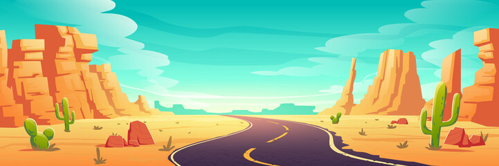 Desert landscape with road, rocks and cactuses. Vector cartoon illustration of highway turn in Arizona or Mexico hot sand desert with orange mountains. Summer western american landscape Wall mural