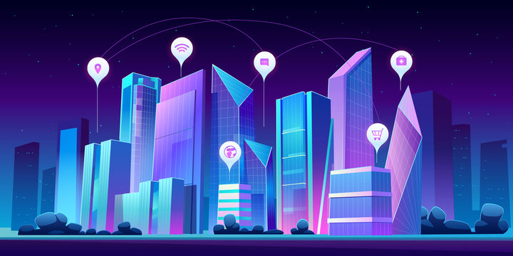 Smart city with wireless communication technology and Internet of things. Vector cartoon night cityscape with skyscrapers and infographic icons. Digital infrastructure in town