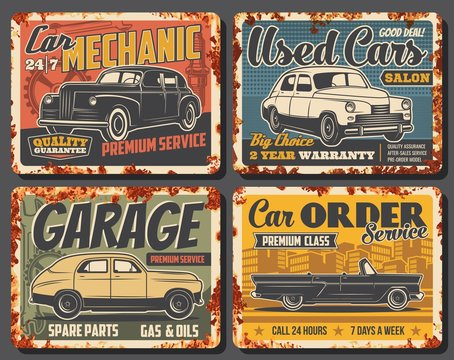 Retro car rusty metal banners of auto service and mechanic garage, gas, oil and spare parts shop vector design. Vintage vehicles of sedan and cabriolet, wrench, spanner, spark plug and mechanical gear