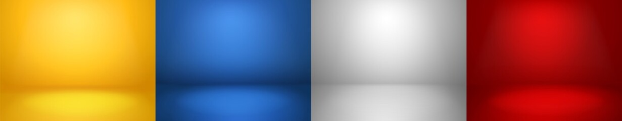 Studio backgrounds. Red, blue, yellow and blue walls for photography space vector simple set - fototapety na wymiar