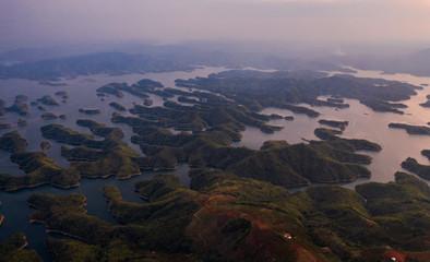 Door stickers Lavender Aerial view of Ta Dung lake or Dong Nai 3 lake.