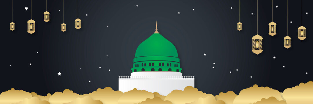 Ramadan madina mosque with lantern lamp against serene and colorful sky. Ramadan background.