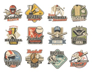 Baseball sport retro icons with vector balls, bats and trophies. Championship winner cup, player and arena play field, team uniform cap, glove and jersey, catcher helmet, mask, pad and mitt badges
