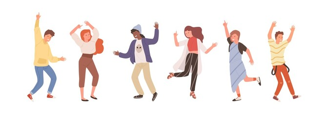 Wall Mural - Group of diverse people dancing isolated on white. Set of happy positive man and woman having fun at party or music festival vector flat illustration. Colored person on dance floor at night club