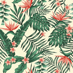 Wall Mural - Exotic tropical seamless pattern background