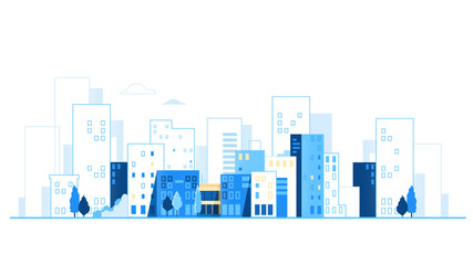Urban landscape. City skyline. Cityscape background with road and cars vector illustration Fototapete