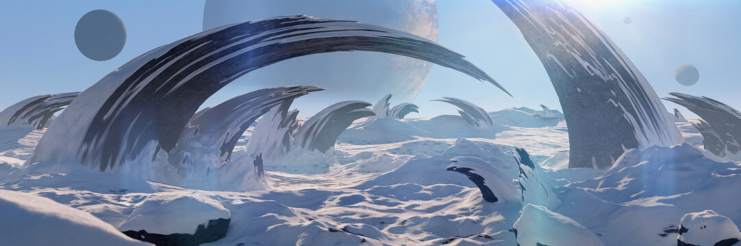 alien planet landscape, beautiful frozen surface on another world