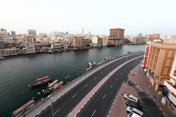 A general view shows Abra Station in font of the Deira Spice Souk, following the outbreak of coronavirus, in Dubai