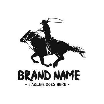 Horse and cowboy logo
