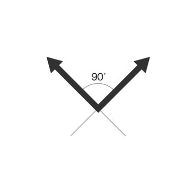 90 Degrees Angle with arrows. Stock Vector illustration isolated on white background.