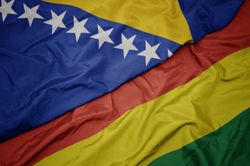 Deurstickers Noord Europa waving colorful flag of bolivia and national flag of bosnia and herzegovina.