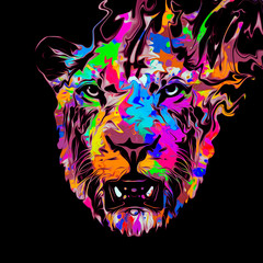 Tiger head with creative abstract element on black background