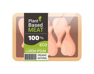 plant based vegetarian chicken legs beyond meat in packaging organic natural vegan food concept horizontal copy space vector illustration