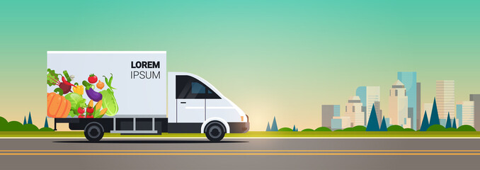 Foto auf AluDibond Cartoon cars realistic van with organic vegetables on city highway natural vegan farm food delivery service vehicle with fresh veggies cityscape background horizontal flat vector illustration