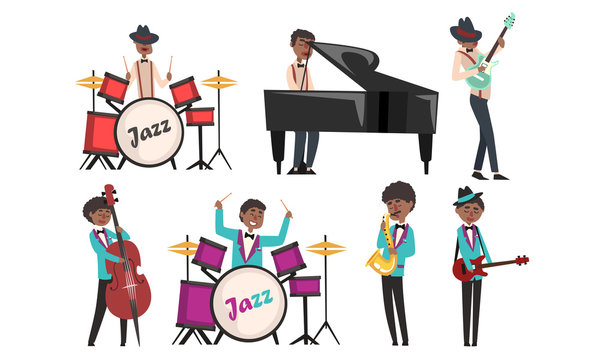 Jazz Band, African American Musician and Singers Singing and Playing Different Musical Instruments Vector Illustration