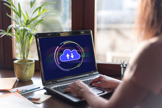 Cloud computing concept on a laptop screen