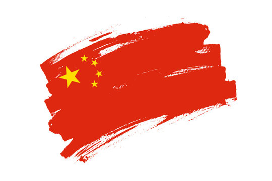 Flag of People's Republic of China. China red banner brush concept with five stars. Horizontal vector Illustration isolated on white background.