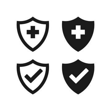 Hygienic shield protecting from virus, germs and bacteria. Web security shield vector icons collection on white background.