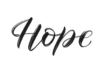 Vector brush calligraphy hope isolated on white. Hope single word. Hope vector concept EPS 10