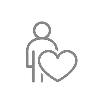 Human with big heart, self care line icon. Like, donation, charity symbol