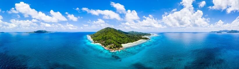 Aerial view of La Digue island in the Seychelles Fotobehang