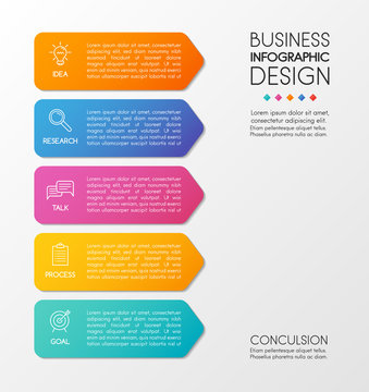 Vertical diagram with 5 options. Business infographic template. Vector