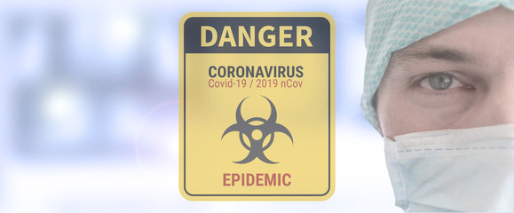 doctor with protective disposable medical mask. Coronavirus, Covid-19, 2019-nCoV,