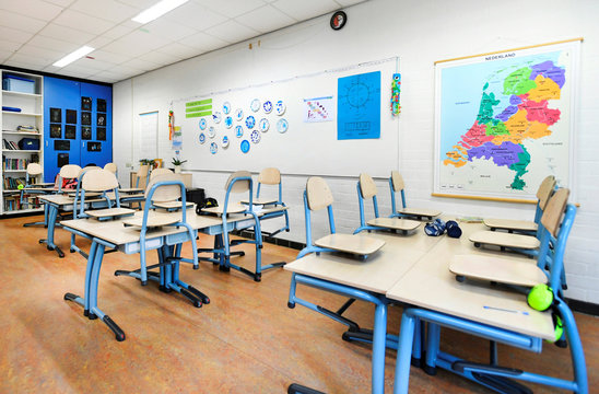An empty classroom is seen at a primary school, as the Netherlands close schools, bars and restaurants to fight the spread of coronavirus disease (COVID-19), in Rotterdam