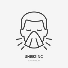 Sneezing man line icon, vector pictogram of flu or cold symptom. Man covering cough with napkin illustration, sign for medical poster