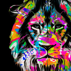Lion head with creative abstract element on dark background