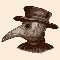 A plague doctor in a mask with a long beak and hat. Vector image stylized as engraving.
