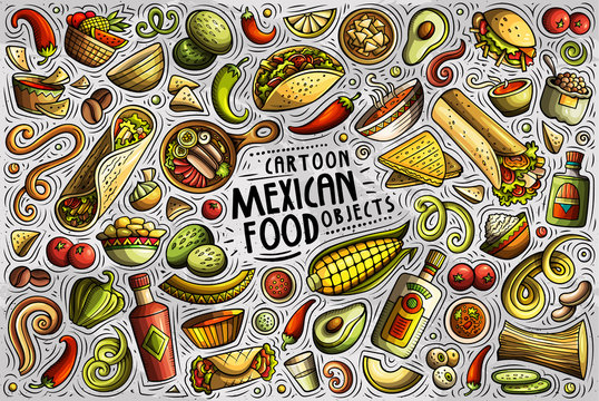 Vector set of Mexican food theme items, objects and symbols