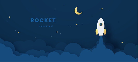 Start up business concept. rocket flying on the air,paper art and digital craft style. Vector illustration
