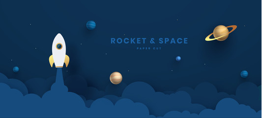 Paper art style of rocket flying over the earth, start up concept, flat-style vector illustration Night sky, shining stars, moon, planets, fluffy clouds.