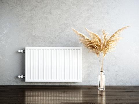 Heating metal radiator, white radiator