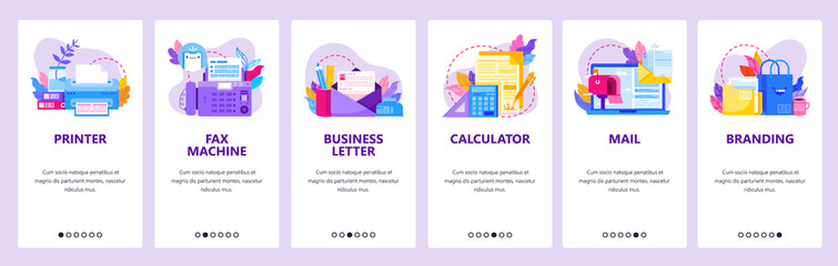 Wall Mural - Office electronic and business accessories. Printer, fax machine, business letter. Mobile app onboarding screens. Vector banner template for website mobile development. Web site design illustration