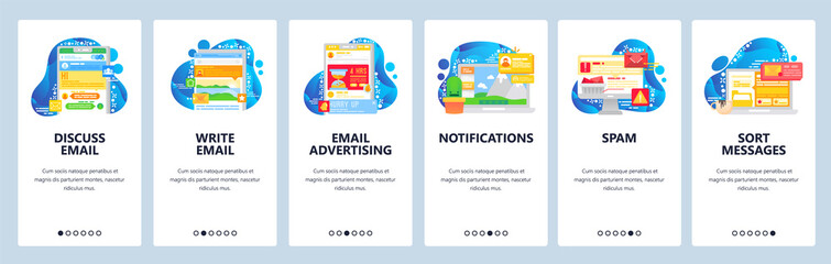 Wall Mural - Email and chat mobile app. Phone notifications and advertisement. Spam, message sorting. App onboarding screens. Vector banner template for website mobile development. Web site design illustration