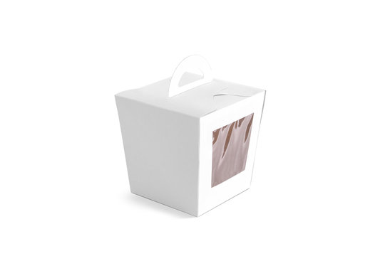 Blank white cardboard candy box with transparent window mock up
