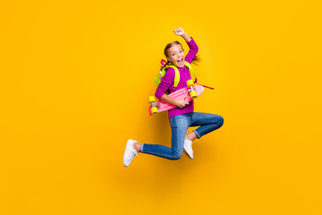 Full length body size view of her she nice attractive lovely pretty cheerful cheery girl jumping...