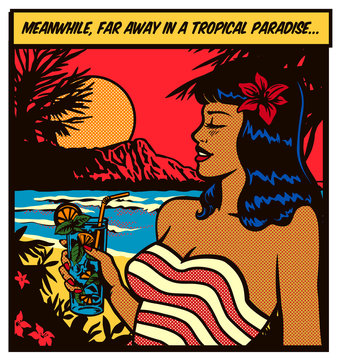 Pop art comic book style girl wearing swimsuit woman relaxing and enjoying holidays and mojito cocktail in a tropical paradise island beach vector illustration