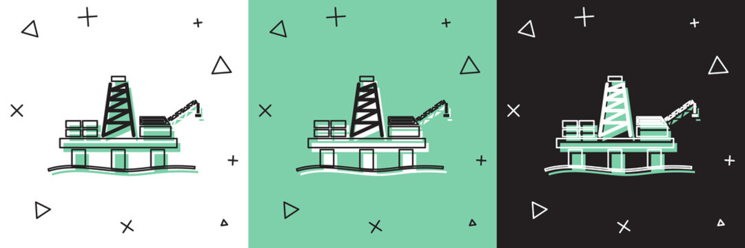 Set Oil platform in the sea icon isolated on white and green, black background. Drilling rig at sea. Oil platform, gas fuel, industry offshore. Vector Illustration